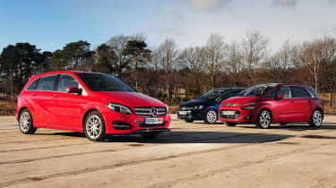 Mercedes B-Class vs Citroen C4 Picasso & VW Golf SV