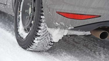 Winter tyre test - snow close-up
