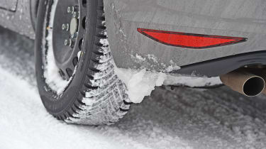 Winter tyre test - snow close-up