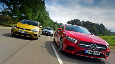 Mercedes A-Class vs Volkswagen Golf vs Audi A3 - header