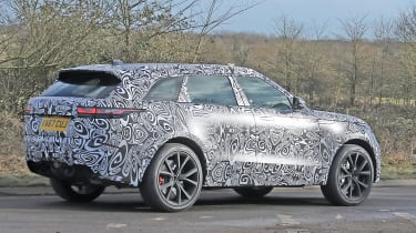 Range Rover Velar SVR spy shot rear quarter