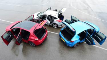 Peugeot 308 GTi vs Ford Focus ST Mountune vs SEAT Leon Cupra practicality