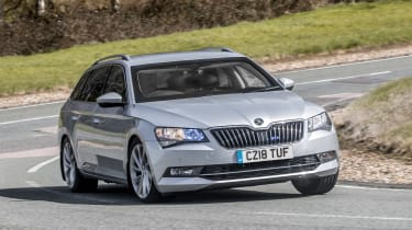 Armoured Skoda Superb - front cornering