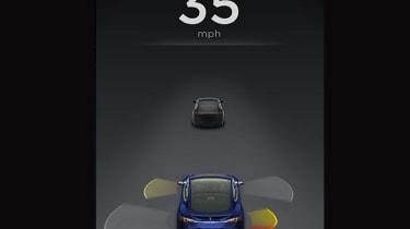 Tesla Autopilot screen shot - Automatic Emergency Steering