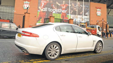 Jaguar XF outside Anfield