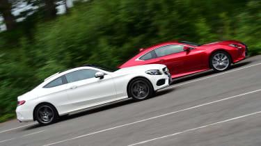 Mercedes C-Class Coupe vs Lexus RC 300h - side
