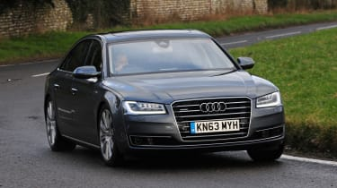 Audi's A8 takes on the likes of the Mercedes S-Class and BMW 7-Series.