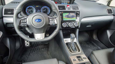 The interior is light years ahead of Subarus of old, with hard plastics making way for tactile materials.