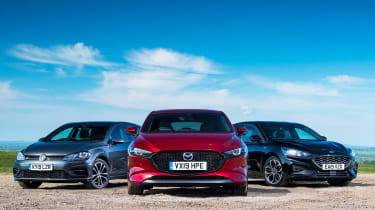 Mazda 3 vs Ford Focus vs Volkswagen Golf - head-to-head