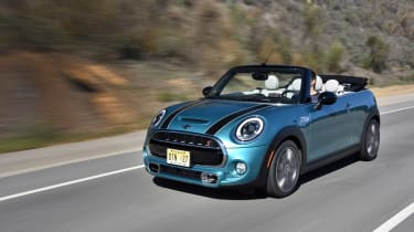 MINI Convertible Automatic - front three quarter, roof down