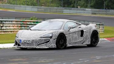McLaren 600LT spy shots front quarter
