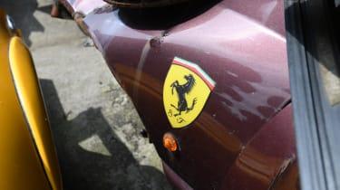 Dented Ferrari wing