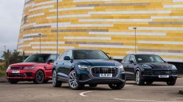 Audi Q8 vs Porsche Cayenne vs Range Rover Sport - Header