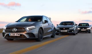 mercedes-amg a35 vs honda civic type r vs vw golf r header