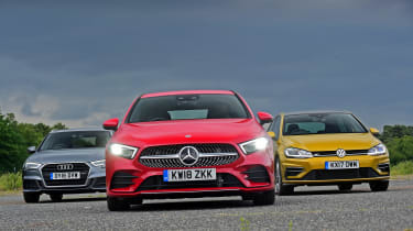 Mercedes A-Class vs Volkswagen Golf vs Audi A3 - head-to-head