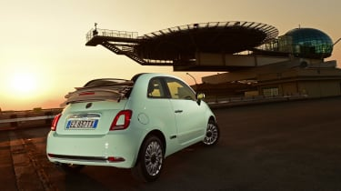 Fiat 500C 2015 sunset rear
