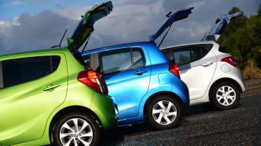 Vauxhall Viva vs Hyundai i10 vs Suzuki Celerio boot openings