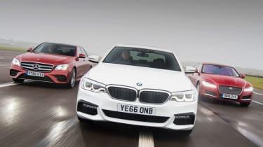 BMW 5 Series vs Mercedes E-Class vs Jaguar XF - group header