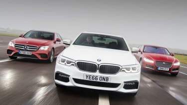 BMW 5 Series vs Mercedes E-Class vs Jaguar XF - group header