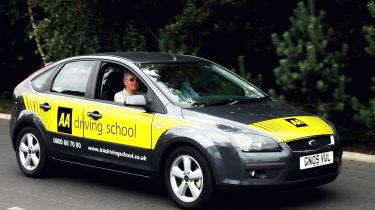 Learner driver, driving school AA car
