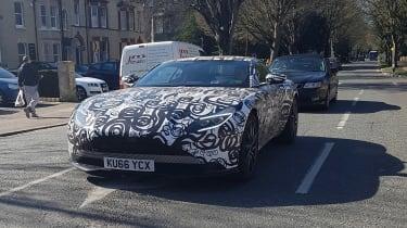 Aston Martin V8 Vantage mule front quarter UK