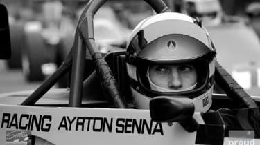 Race winner Ayrton Senna sits in the Rushen Green Racing Van Diemen RF82