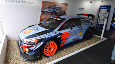 Hyundai is making sure customers are aware of its new-found racing pedigree with its i20 WRC car on display at Goodwood.