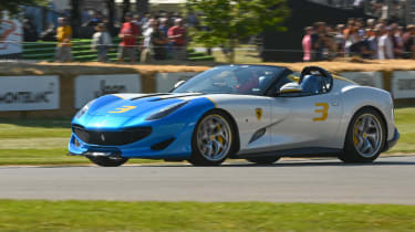 Ferrari SP3JC - front cornering Goodwood 2019
