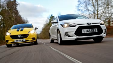 Hyundai i20 Coupe vs Vauxhall Corsa - head-to-head low