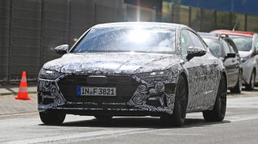 New 2018 Audi A7 spy shot front quarter