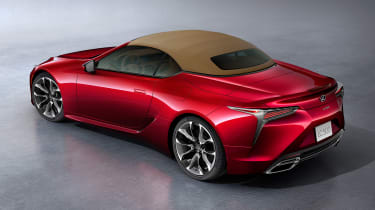 Lexus LC Convertible - red roof up above