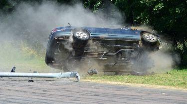 Car rolling crash