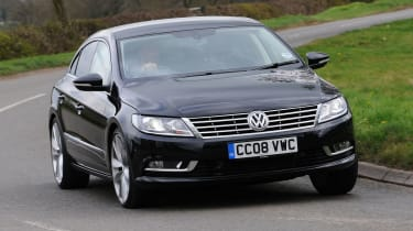 The Volkswagen CC is a four-door coupe which challenges the Mercedes CLS and the Audi A5 Sportback.