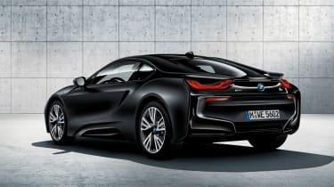 BMW i8 protonic frozen black rear quarter