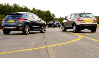 Citroen DS4, Volkswagen Golf and Nissan Qashqai