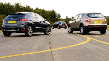 Citroen DS4, Volkswagen Golf and Nissan Qashqai