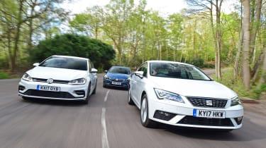 SEAT Leon vs Volkswagen Golf vs Vauxhall Astra - header