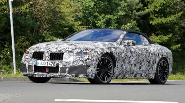BMW M8 spy shot front quarter