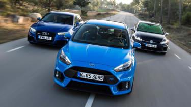Ford Focus RS vs Audi RS3 vs Volkswagen Golf R