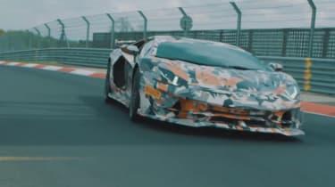 Lamborghini Aventador SVJ teaser vid front