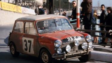 Mini Cooper S 1964 Monte Carlo rally winner - classic cornering