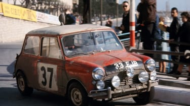Mini Cooper S 1964 Monte Carlo rally winner - classic cornering