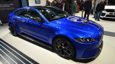 Jaguar XE SV Project 8 - blue Goodwood side/front