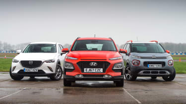 Hyundai Kona vs Citroen C3 Aircross vs Mazda CX-3 - head-to-head