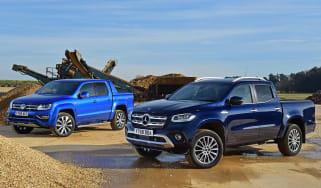 mercedes x-class vs volkswagen amarok pick-up truck twin test header