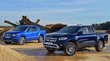 mercedes x-class vs volkswagen amarok pick-up truck twin test header