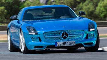 Mercedes SLS AMG Electric Drive front cornering