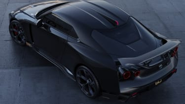 Nissan GT-R50 by Italdesign - black rear 3/4 aerial static