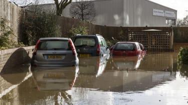 UK Floods: cars flooded