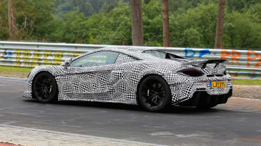 McLaren 600LT spy shots rear quarter
